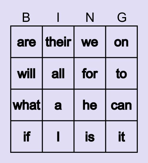 k Sight Words Bingo Card