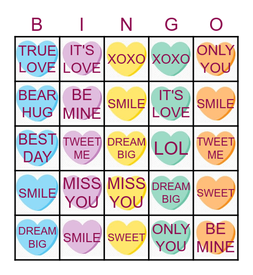 Conversation Heart BINGO Card