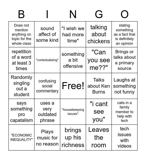 Angell Bingo Card