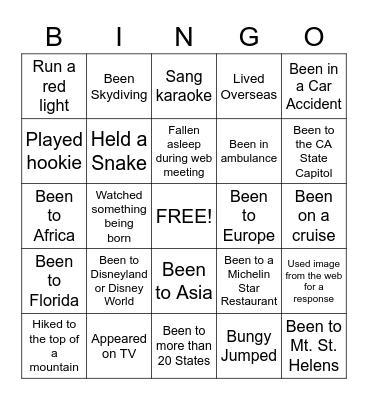 Never Have I Ever 1 Bingo Card