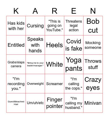 Karen Bingo Card