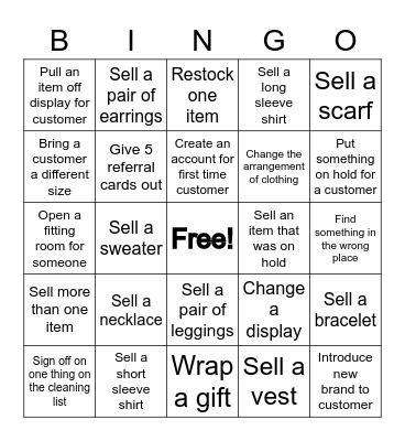 Valentine Bingo (Clothing) Bingo Card