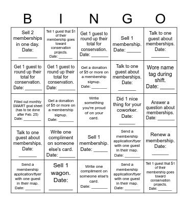 February Sales Incentive BINGO Gate Staff Bingo Card