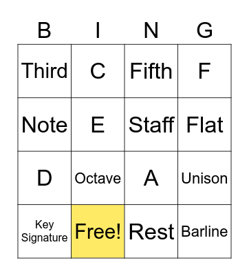 Music Symbols and Intervals Bingo Card