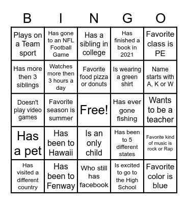 PE Social Bingo Card