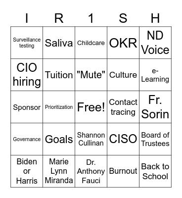 All Hands 1/27/21 Bingo Card