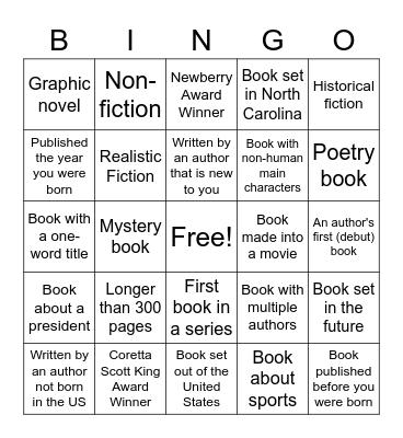 I LOVE READING CHALLENGE Bingo Card