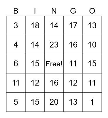Bingo Cards Numbers Bingo Card