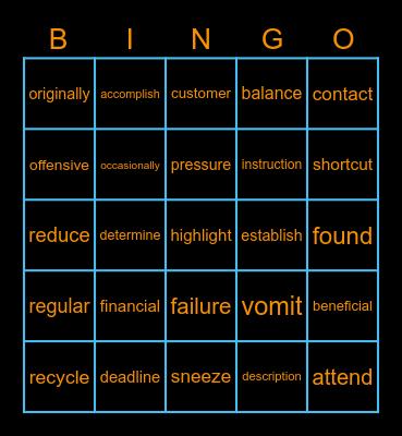 107年 第3次 模考單字 Bingo Card