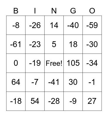 Adding and Subtracting Integers Bingo Card