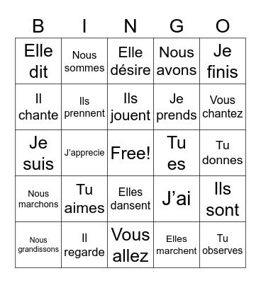 Les verbes au présent Bingo Card