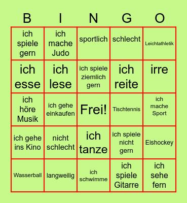 Freizeit Bingo Card
