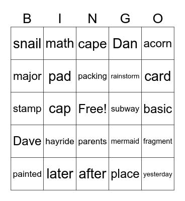 Long A Bingo Card