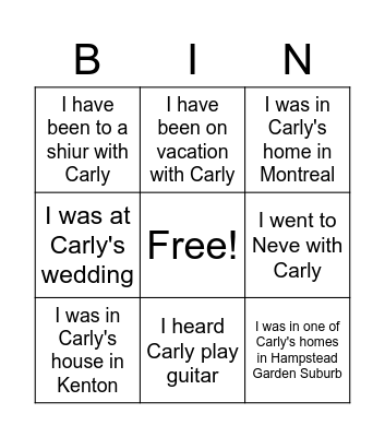 Carly Bingo Card