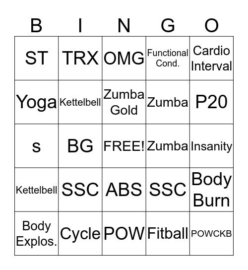 Group Exercise Bingo Card