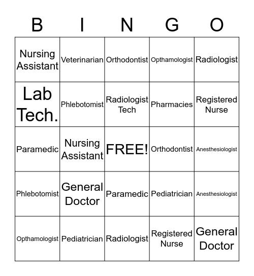 Exploring Health Careers  Bingo Card