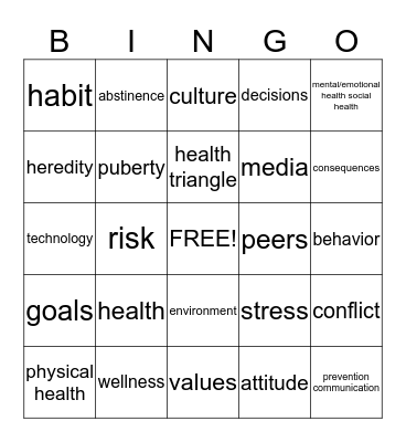Your Total Health Bingo Card