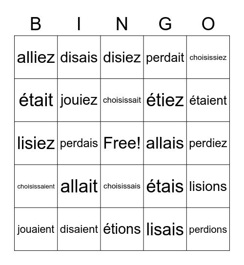 Imparfait Practice Bingo Card