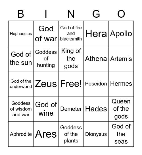 Gods and Goddesses Bingo Card