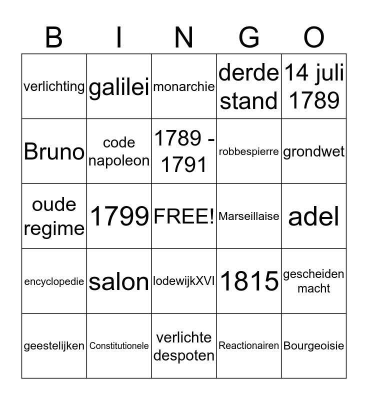 franse revolutie Bingo Card