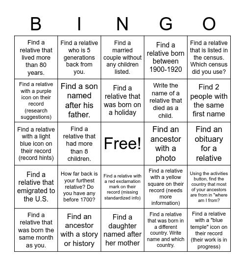 Family Search Bingo Card