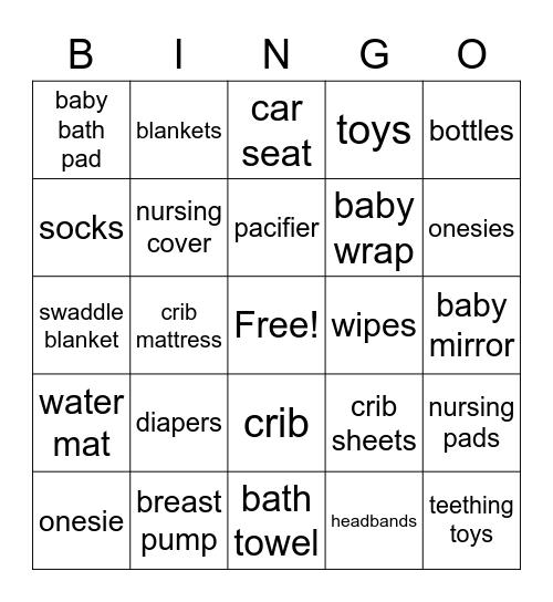 Darsana's Baby Shower Bingo Card
