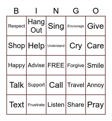 Friends Bingo Card