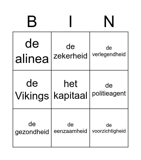 Woordpakket 15 Bingo Card