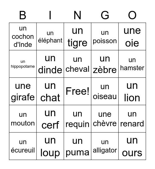 Les animaux Bingo Card