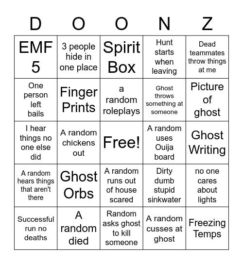 Randophobia Bingo Card