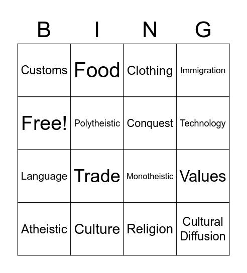 Culture Bingo Card