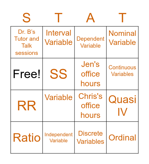 Chapter Two Bingo (STAT) - Super Totally Awesome Tutoring Bingo Card