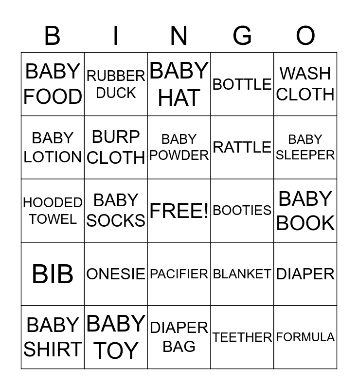 BABY SHOWER BINGO  Bingo Card