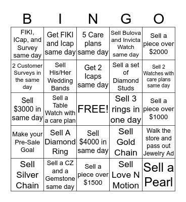 Fine Jewelry Bingo Card