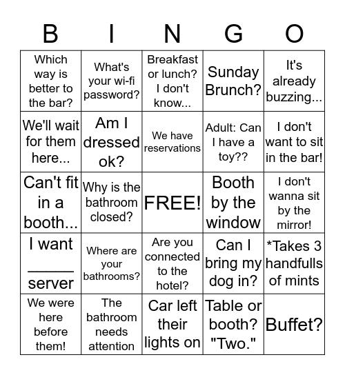 Host Stand Bingo Card