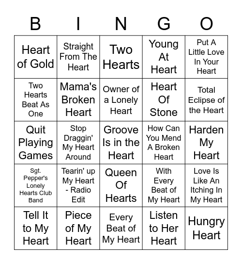 """""""Heart"""" Bingo Card"""