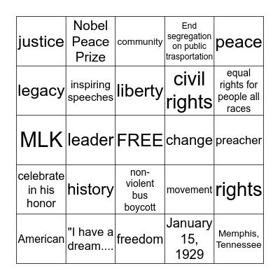 Black History  Bingo Card