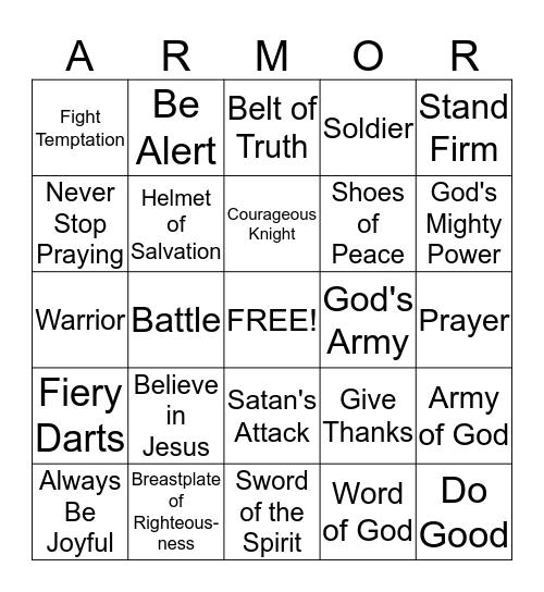 Armor of God Bingo Card