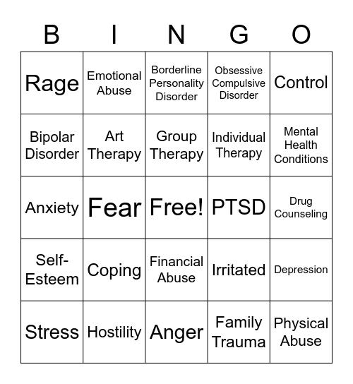 Trauma Bingo Card
