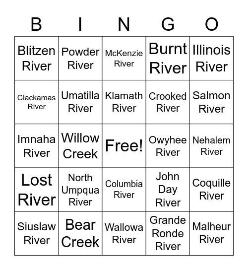 Oregon Creeks & Rivers Bingo Card