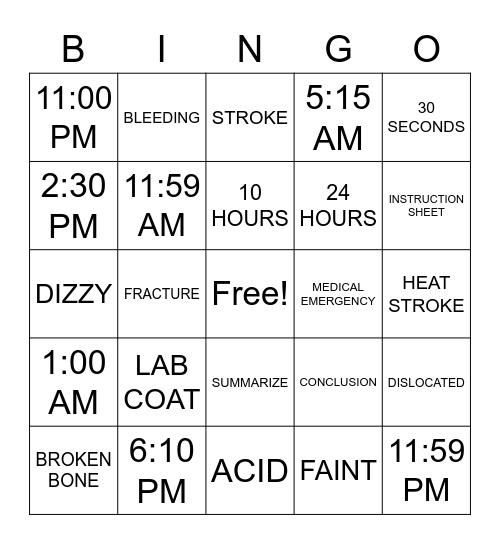 ASLdeafined.com (Time-8 / Medical emergencies / Science-2) Bingo Card