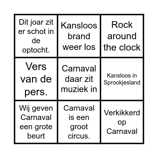Kansloos Bingo Card
