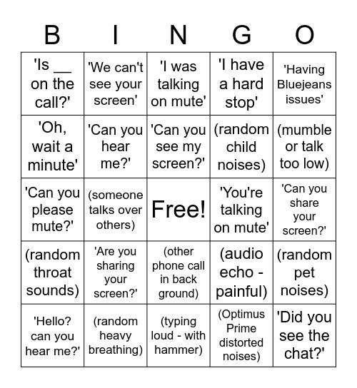 Bluejeans Bingo Card