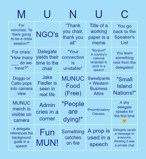 MUNUC Online Bingo Card