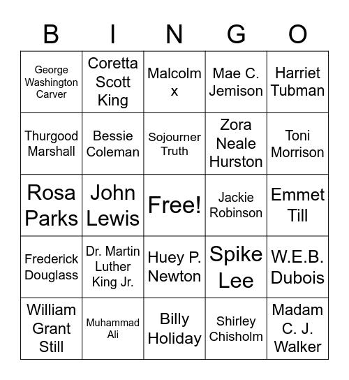 Black History Month Figures Bingo Card