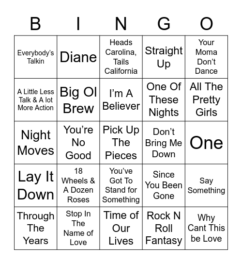Music Bingo 44 Bingo Card