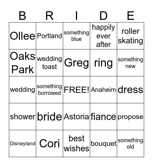 Cori+Greg=Happily Ever After Bingo Card
