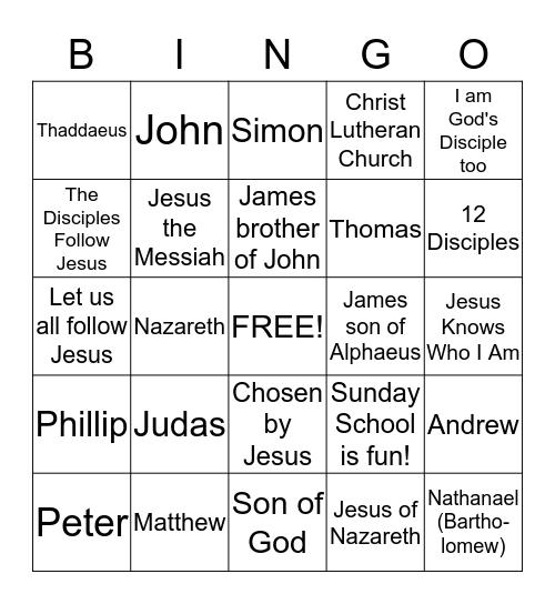 12 Disciples Bingo - Christ Lutheran Sunday School Bingo Card
