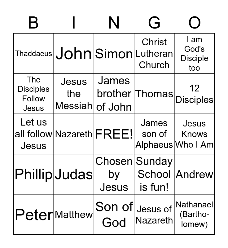 12 Disciples Bingo - Christ Lutheran Sunday School Bingo Card