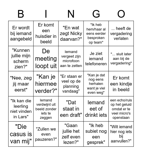 Bingo Team WK Bingo Card